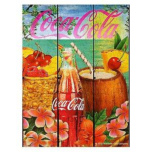 Placa Retangular Decorativa de Madeira Coca-Cola Tropical Flavor - 50 x 36 cm