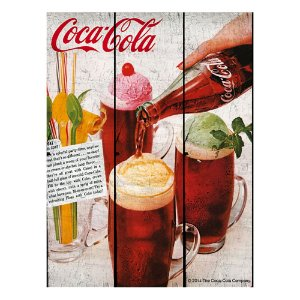 Placa Retangular Decorativa de Madeira Coca-Cola Ice Cream with a Coke - 50 x 36 cm
