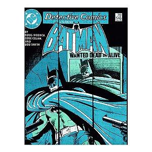 Placa Retangular Decorativa de Madeira DC Comics Batman Shadow Wanted Dead or Alive - 50 x 36 cm