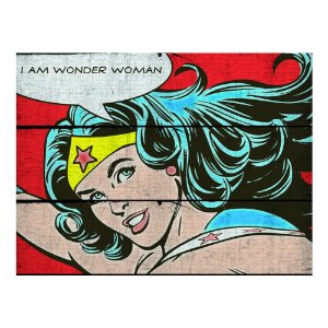 Placa Retangular Decorativa de Madeira DC Comics Wonder Woman - 36 x 50 cm