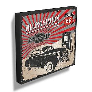 Quadro / Tela Quadrado GM Vintage Coupé Gas Station - 40 cm
