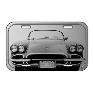Placa Retangular Decorativa de Metal GM Vintage Corvette - 15 x 30 cm