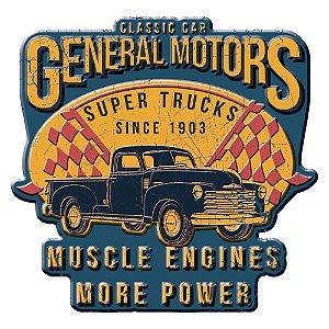 Placa Decorativa de Metal Recortada GM Vintage Super Trucks Muscle Engines More Power - 35 cm