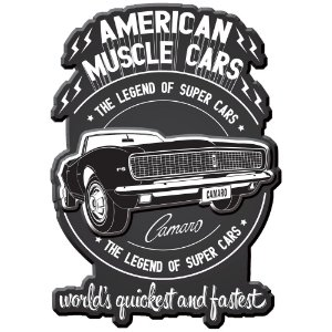 Placa Decorativa de Metal Recortada GM Vintage American Muscle Cars - 45 cm