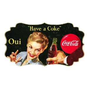 Placa Retangular Decorativa de MDF Coca-Cola Blond Lady Have a Coke - 20 x 36 cm