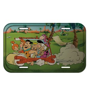 Placa Retangular Decorativa de Metal Hanna Barbera Os Flintstones Passeio em Família - 15 x 30 cm