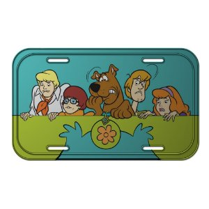 Placa Retangular Decorativa de Metal Hanna Barbera Scooby-Doo Everybody Scared - 15 x 30 cm