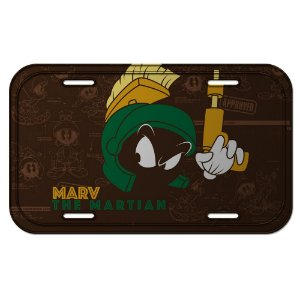 Placa Retangular Decorativa de Metal Looney Tunes Marvin, o Marciano - 15 x 30 cm