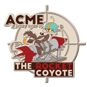 Placa Decorativa de Metal Recortada Looney Tunes ACME The Rocket Coyote - 35 cm