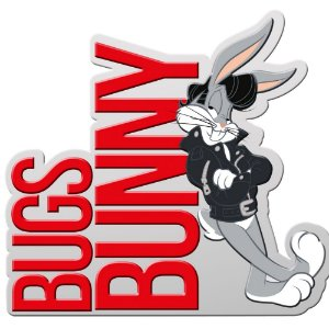 Placa Decorativa de Metal Recortada Looney Tunes Bugs Bunny Charming - 40 x 28 cm