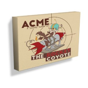 Quadro / Tela Retangular Looney Tunes ACME The Rocket Coyote - 30 x 50 cm