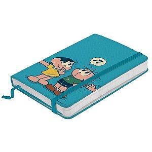 Caderneta de Anotação c/ Elástico 100 Fls Turma da Mônica Cebolinha e Magali Assobiando - 21 x 14 cm