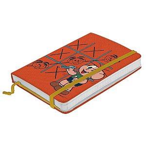 Caderneta de Anotação com Elástico 100 Fls Turma da Mônica Cebolinha e o Jogo da Velha - 21 x 14 cm