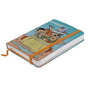 Caderneta de Anotação com Elástico 80 Folhas HB Os Flintstones Passeio em Família - 14 x 10 cm
