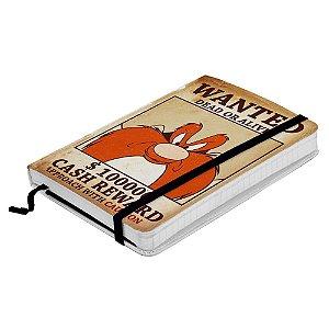 Caderneta de Anotação com Elástico 100 Folhas Looney Tunes Eufrazino Procurado - 21 x 14 cm