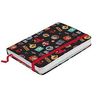 Caderneta de Anotação com Elástico 100 Folhas Looney Tunes Buttons - 21 x 14 cm