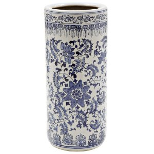 Porta Guarda-Chuva de Cerâmica Branco com Detalhes em Azul - 47 cm