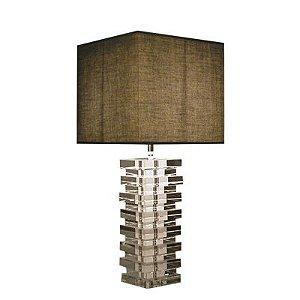 Base para Abajur Classic em Metal e Vidro 1 x E27 Cromado e Transparente Bella Iluminação - 52 cm