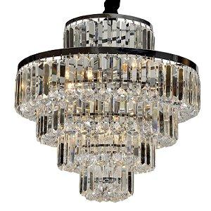 Lustre Dijon 9 x E14 Cromado e Transparente Bella Iluminação - 51 x 54 cm