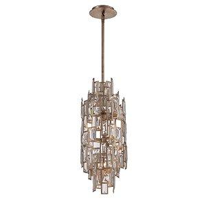Pendente Tarsilla 7 x G9 Prata Envelhecido e Transparente Bella Iluminação - 65 x 25 cm