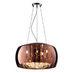 Pendente / Plafon Soho 9 x G9 Cobre e Transparente Bella Iluminação - 20 x 60 cm