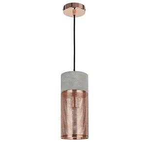 Pendente Telinha Concret 1 x E27 Cobre e Cinza Bella Iluminação - 178 x 12 cm