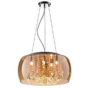 Pendente / Plafon Soho 9 x G9 Âmbar e Transparente Bella Iluminação - 20 x 60 cm
