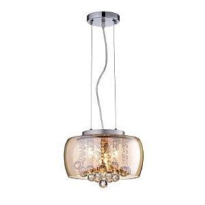 Pendente / Plafon Soho 3 x G9 Âmbar e Transparente Bella Iluminação - 17 x 28 cm