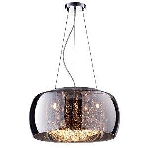 Pendente / Plafon Soho 9 x G9 Cromado e Transparente Bella Iluminação - 20 x 60 cm