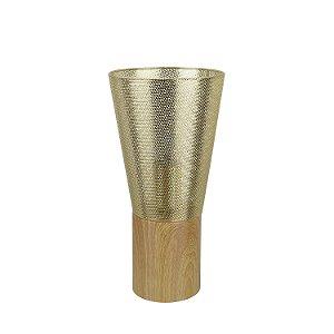 Abajur Telinha Duo 1 x E27 Bronze e Madeira Bella Iluminação - 32 x 16 cm