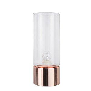 Abajur Moa 1 x E27 Rose Gold e Transparente Bella Iluminação - 31 x 12 cm