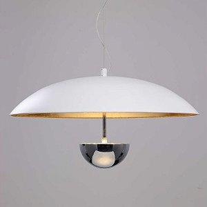 Pendente Brolly LED 12W Branco e Dourado Bella Iluminação - 43 cm
