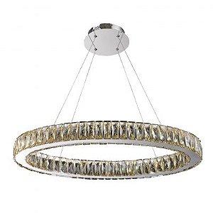 Lustre Aura LED 32W Champagne e Cromado Bella Iluminação - 200 x 80 cm