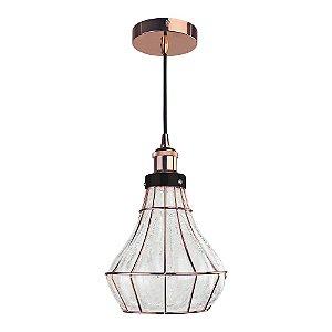 Pendente Vitti 1 x E27 Cobre e Transparente Bella Iluminação - 22 x 20 cm