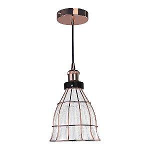 Pendente Vitti 1 x E27 Cobre e Transparente Bella Iluminação - 19 x 17 cm