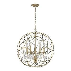 Pendente Balle 5 x E14 Prata Envelhecido e Transparente Bella Iluminação - 64 x 58 cm