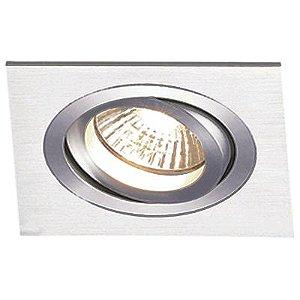 Spot Embutido Quadrado Ecco 1 x Mini Dicróica Alumínio Escovado Bella Iluminação - 7,6 cm