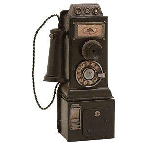 Objeto Decorativo de Metal Telefone Antigo - 24 x 11 cm