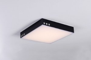 Plafon LED Sobrepor de Acrílico e Alumínio Agata Preto / Branco - Bella Italia