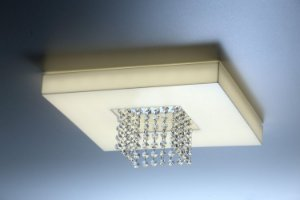 Plafon LED Sobrepor de Acrílico e Alumínio Domenica Branco com Cristais - Bella Italia