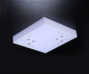 Plafon LED Sobrepor de Acrílico e Alumínio Paraty Branco / Fosco - Bella Italia
