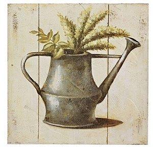 Quadro de Madeira Regador e Folhas 20 x 20 cm