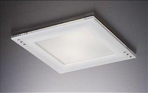 Plafon LED Embutir de Acrílico e Alumínio Doppio Strass Branco / Fosco - Bella Italia