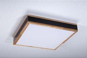 Plafon LED Sobrepor de Acrílico e Alumínio Lignum Preto / Branco - Bella Italia