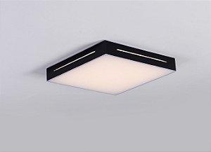 Plafon LED Sobrepor de Acrílico e Alumínio Lontana Preto / Branco - Bella Italia