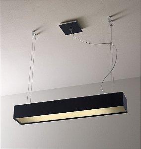 Pendente de Acrílico Laurea 2 x T8 LED Preto - Bella Italia