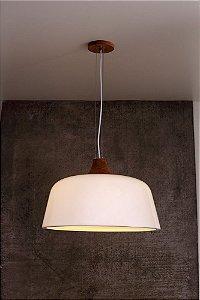 Pendente de Acrílico e Madeira Louise Wood 3 x E27 Branco - Bella Italia