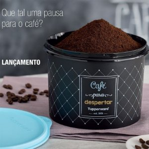 Tupperware Caixa Bistrô Café 700g Preta e Azul Chalkboard