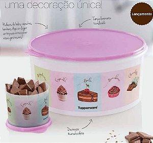 Tupperware Kit 2 peças Chocolate Tampa Rosa