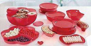 Tupperware BEA Nível 4 Vermelho Servir 9 peças